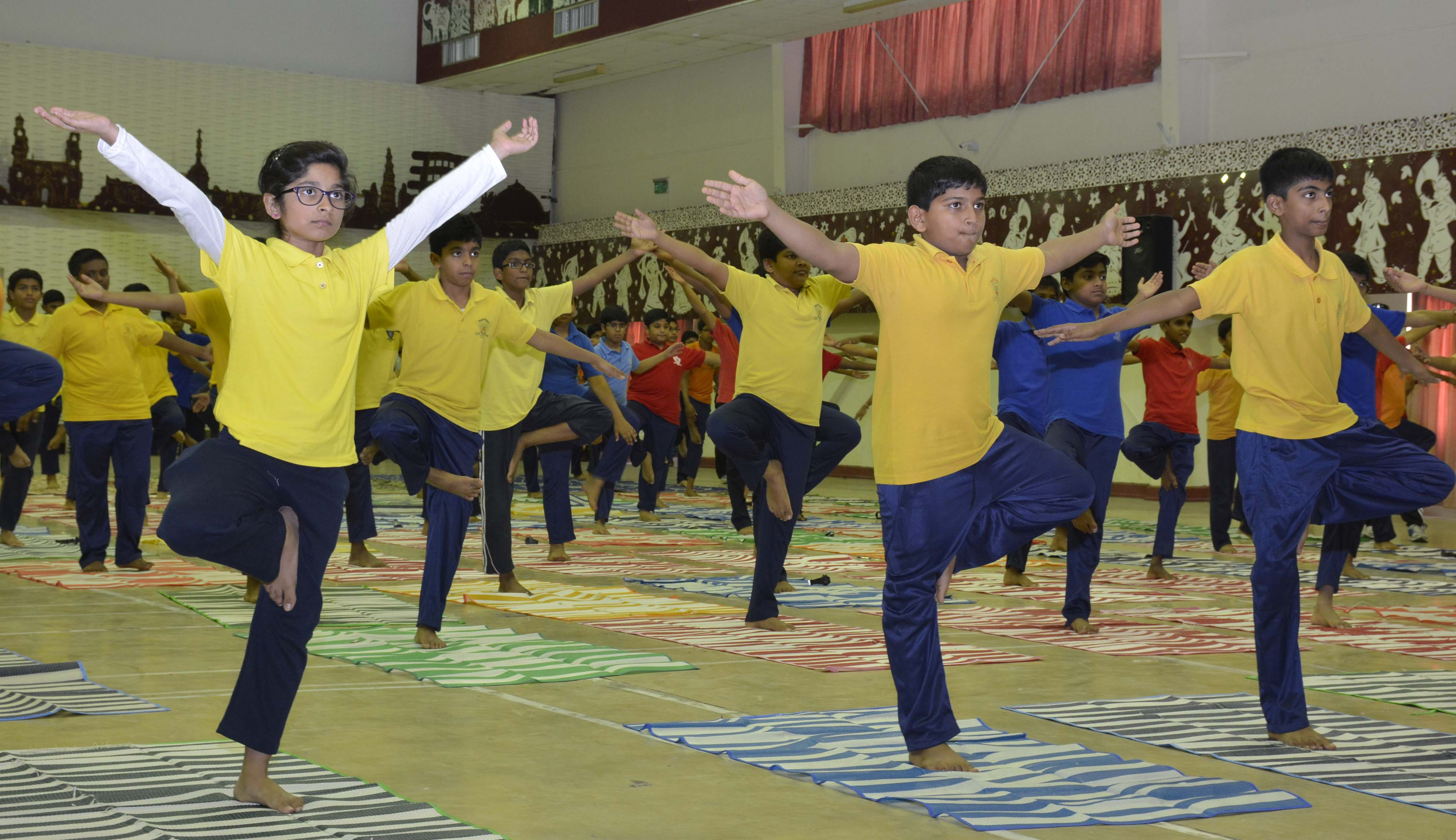 International Yoga Day celebrations in the Indian School